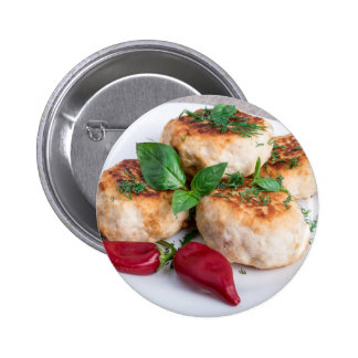 Close Up view on rissole of minced chicken 2 Inch Round Button