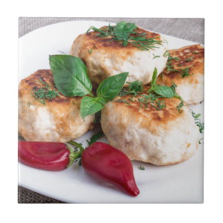 Close Up view on rissole of minced chicken Ceramic Tiles