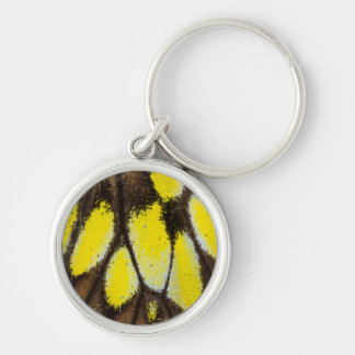 Close-up Wing Pattern of Tropical Butterfly Keychain