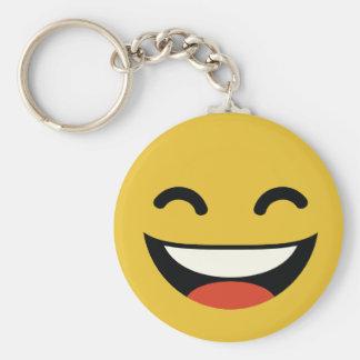 Close your eyes laughing emoji basic round button keychain