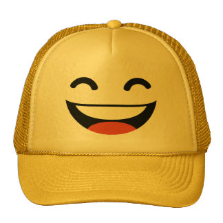 Close your eyes laughing emoji trucker hat