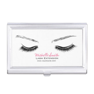 Closed eyes long lashes lash extension business card holder