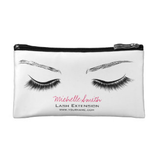 Closed eyes long lashes lash extension cosmetic bag