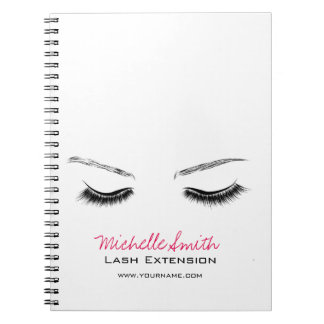 Closed eyes long lashes lash extension notebooks