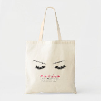Closed eyes long lashes lash extension tote bag