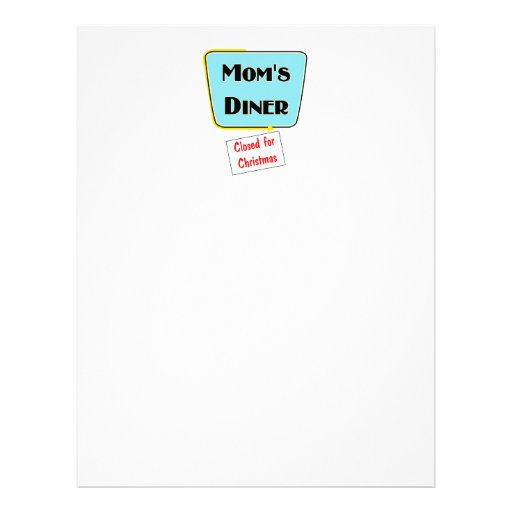 Closed for Christmas Mom's diner t-shirts & gifts. Letterhead Design