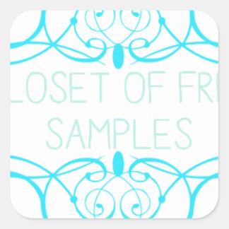 Closet of Free Samples Blue Line Square Sticker