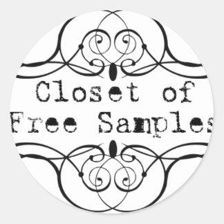 Closet of Free Samples Round Sticker