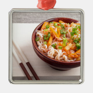 Closeup Asian dish of rice noodles and vegetable Silver-Colored Square Ornament