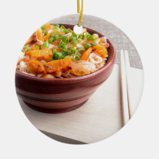 Closeup Asian food of rice noodles and vegetables Round Ceramic Ornament