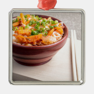 Closeup Asian food of rice noodles and vegetables Silver-Colored Square Ornament