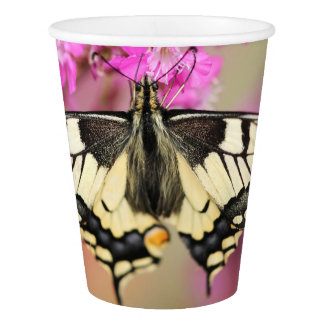 Closeup dovetail butterfly on lilac flower paper cup