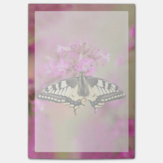 Closeup dovetail butterfly on lilac flower post-it® notes
