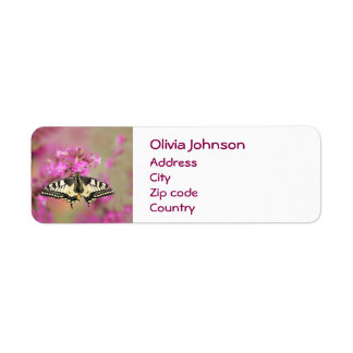 Closeup dovetail butterfly on lilac flower return address label