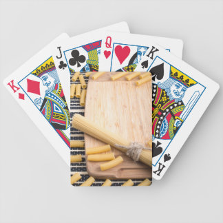 Closeup food background on the kitchen table bicycle playing cards
