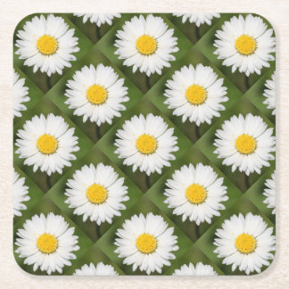 Closeup Of A Beautiful Yellow And Wild White Daisy Square Paper Coaster