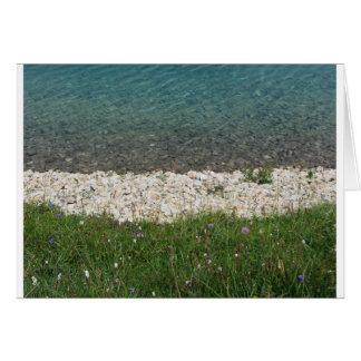 Closeup of a crystal clear alpine lake card