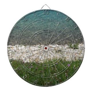 Closeup of a crystal clear alpine lake dart board