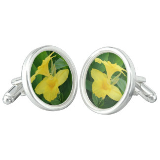 Closeup Of A Tropical Yellow Canna Lily Cufflinks