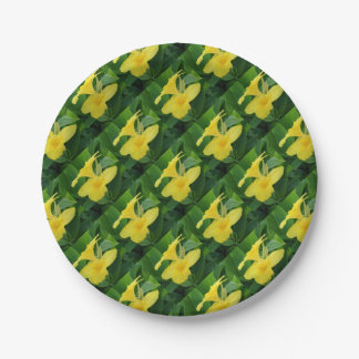 Closeup Of A Tropical Yellow Canna Lily Paper Plate