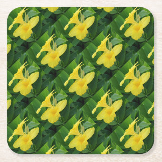 Closeup Of A Tropical Yellow Canna Lily Square Paper Coaster