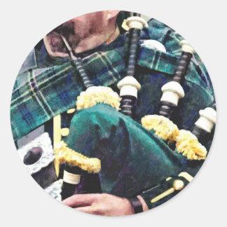 Closeup of Bagpiper Classic Round Sticker