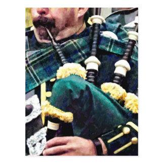 Closeup of Bagpiper Postcard