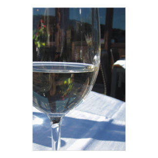 Closeup of glass with white wine custom stationery