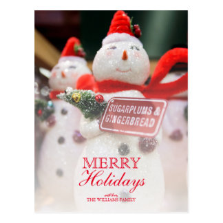Closeup of Handmade Snowman ornament décor. Postcard