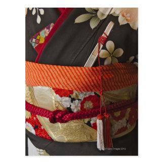 Closeup of Kimono, traditional Japanese dress Postcard