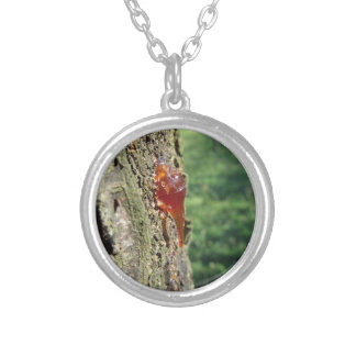 Closeup of pear tree excretion of gummy resin silver plated necklace