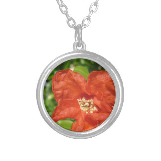 Closeup of red pomegranate flower silver plated necklace