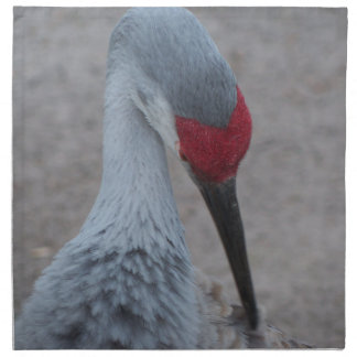 Closeup of the face of a Sand Hill Crane Napkin