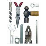 Closeup of work tools postcard