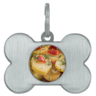 Closeup view of a vegetarian dish of natural pet ID tag