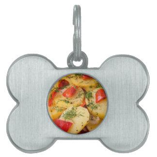 Closeup view of a vegetarian dish of natural pet name tag