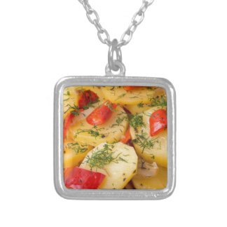 Closeup view of a vegetarian dish of natural silver plated necklace