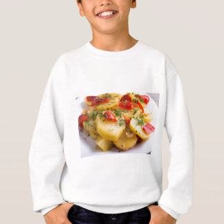 Closeup view of a vegetarian dish of natural sweatshirt
