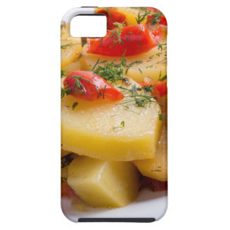 Closeup view of a vegetarian dish of stewed potato case for the iPhone 5