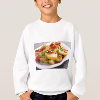 Closeup view of a vegetarian dish of stewed potato sweatshirt