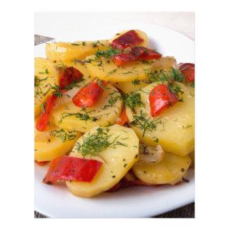 Closeup view of stewed potatoes letterhead