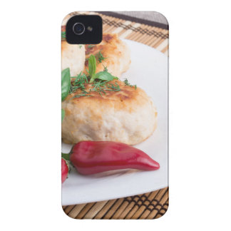 Closeup view of the fried meatballs on a stripe iPhone 4 Case-Mate cases