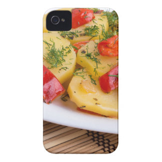 Closeup view on slices of potato on the wooden iPhone 4 Case-Mate cases