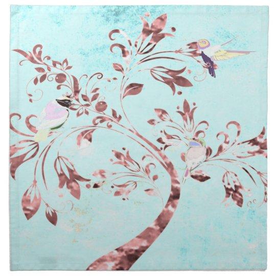 Cloth napkins aqua pink abstract birds