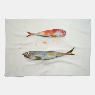 Cloth of kitchen with fish in watercolor