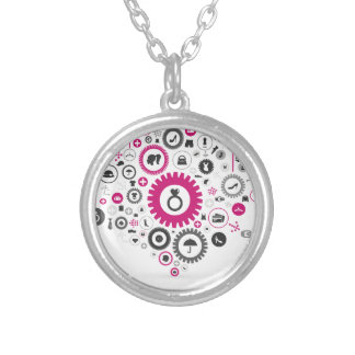 Clothes a gear wheel silver plated necklace