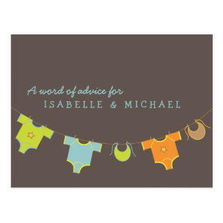 Clothesline Baby Shower Advice Card Blue | Green Postcard