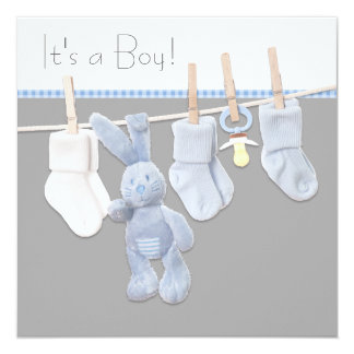 Clothesline Blue and Gray Baby Boy Shower Card