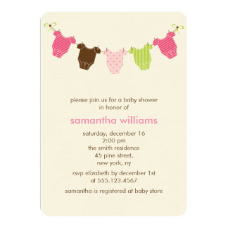 Clothesline Girl Baby Shower Card