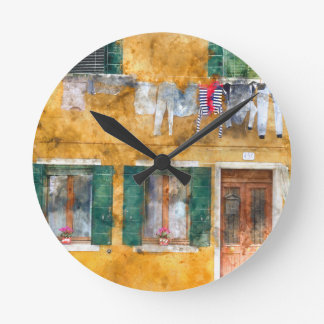 Clothesline on a Building in Burano Italy Clock